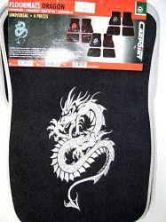 """autószőnyeg """"dragon"""" mintás ezüst 4 db-os"""